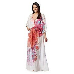 Butterfly by Matthew Williamson - Designer white floral maxi kaftan