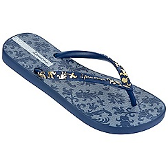 Ipanema - Navy filigree toe post flip flops