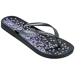 Ipanema - Black floral toe post flip flops
