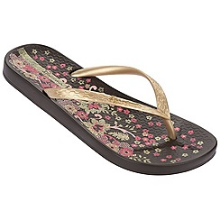 Ipanema - Brown floral toe post flip flops