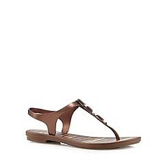 Grendha - Bronze jewel strap sandals