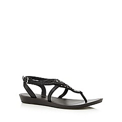 Grendha - Black diamante sandals
