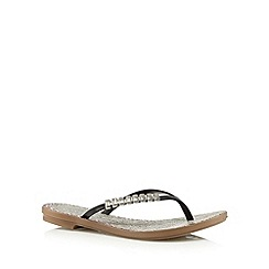 Grendha - Black bar detail animal flip flops