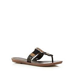 Grendha - Black suedette chain flip flops