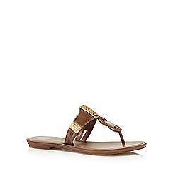 Grendha - Bronze suedette chain flip flops