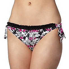 Ultimate Beach - Black ditsy floral tie side bikini bottoms
