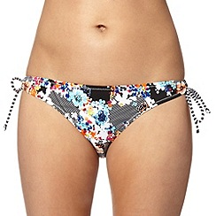 Ultimate Beach - Black shadow floral tie side bikini bottoms