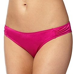 Ultimate Beach - Dark pink plain ruched bikini bottoms