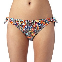 Ultimate Beach - Black ditsy floral spot side tie bikini bottoms
