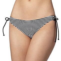 Ultimate Beach - Black striped loop tie bikini bottoms