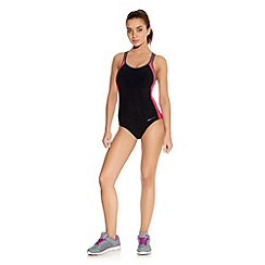 Freya - Active swim soft swim suit black with pink sides