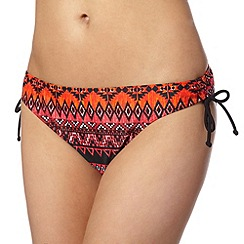 Beach Collection - Orange aztec ruched tie side bikini bottoms