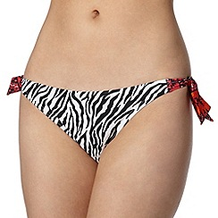 Beach Collection - Black zebra print tie side bikini bottoms