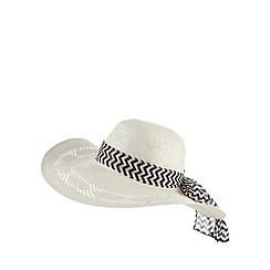 Beach Collection - White chevron band floppy hat
