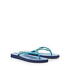 Beach Collection - Blue snakeskin print beaded flip flops