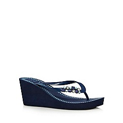 Beach Collection - Navy jewel trim mid wedges