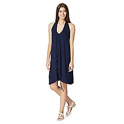 Beach Collection - Navy ruched front V neck dress