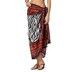 Beach Collection - Red aztec zebra print sarong