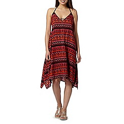 Beach Collection - Red tribal print dress