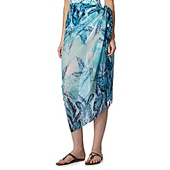 Beach Collection - Aqua jungle leaf sarong
