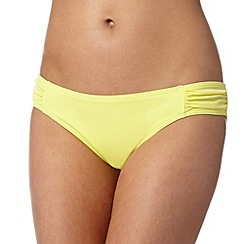Red Herring - Yellow plain ruched bikini bottoms