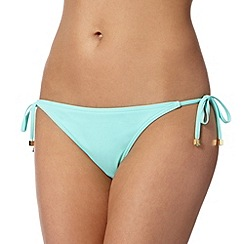 Red Herring - Turquoise plain self tie bikini bottoms