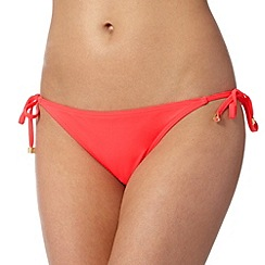 Red Herring - Bright pink plain tie side bikini bottoms