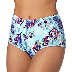 Red Herring - Pale blue rose tattoo high waisted bikini bottoms