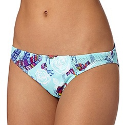 Red Herring - Pale blue rose tattoo bikini bottoms