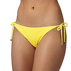 Red Herring - Light yellow self tie bikini bottoms
