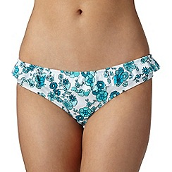 Ultimate Beach - White oriental ditsy print frilled bikini bottoms