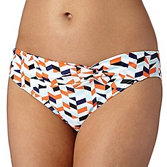 Beach Collection - Orange geometric mix and match twist bikini bottoms