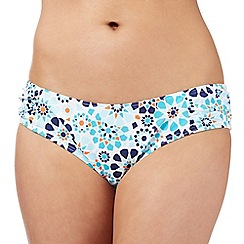 Beach Collection - Aqua mosaic floral bikini bottoms