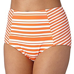 Beach Collection - Orange striped mix and match high waist bikini bottoms