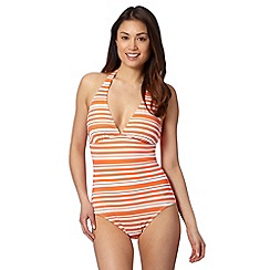 Beach Collection - Orange striped mix and match halter neck swimsuit