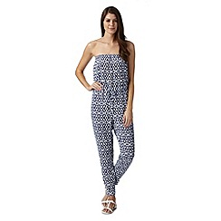 Beach Collection - Navy ikat mix and match elasticated jumpsuit