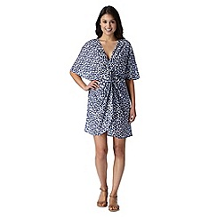 Beach Collection - Navy ikat mix and match twist kaftan