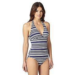 Beach Collection - Navy striped halter neck swimsuit