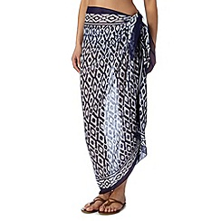 Beach Collection - Navy ikat print sarong