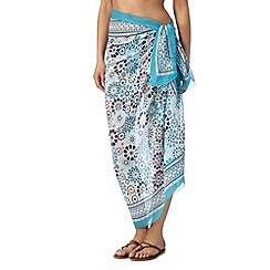 Beach Collection - Aqua geometric mosaic sarong