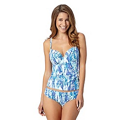 Gorgeous DD+ - Blue mock snake print tankini top