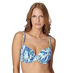 Gorgeous DD+ - Blue animal print non padded bikini top