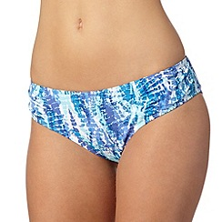 Gorgeous DD+ - Blue mock snake print ruched side bikini bottoms