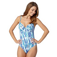 Gorgeous DD+ - Blue mock snake print swim suit