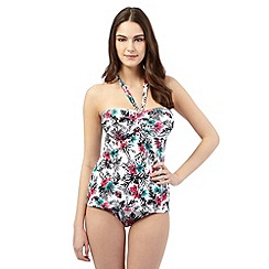 Gorgeous DD+ - White tropical underwired tankini top