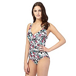 Gorgeous DD+ - White tropical floral underwired tummy control swimsuit