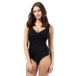 Gorgeous DD+ - Black crossover underwired tummy control swimsuit