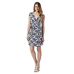Principles by Ben de Lisi - Designer abstract blue sleeveless wrap dress