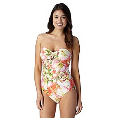 Reger by Janet Reger - Designer coral garden print bandeau swimsuit
