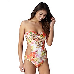 Reger by Janet Reger - Designer coral garden print cutout swimsuit